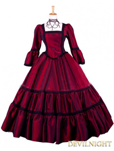 Red Taffeta Simple Victorian Ball Gowns