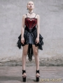 Fashion Black and Red Spaghetti Straps Gothic Dress