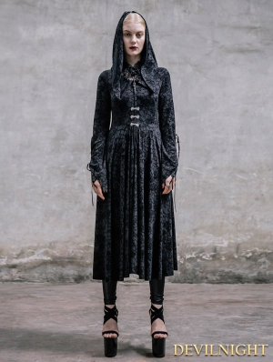 Black Rose Pattern Gothic Hooded Dress