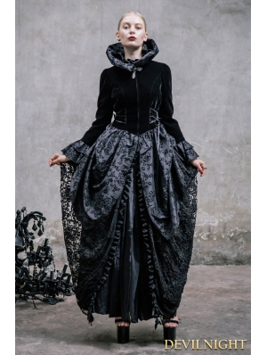 Black Pattern Gothic Dress Outfit for Women
