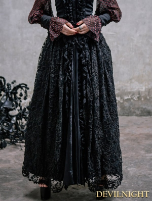 Black Lace Gothic Long Skirt