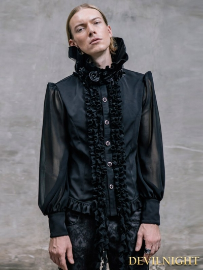 Black Gorgeous Gothic Blouse for Men