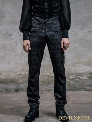Black Pattern High-Low Gothic Pants for Men