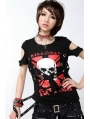 Black Short Sleeves Punk T-Shirt for Women