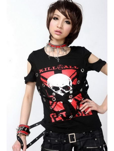 Black Short Sleeves Punk T-Shirt for Women - Devilnight.co.uk