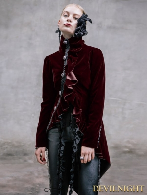 Black Vintage Gothic Swallow Tail Jacket for Women