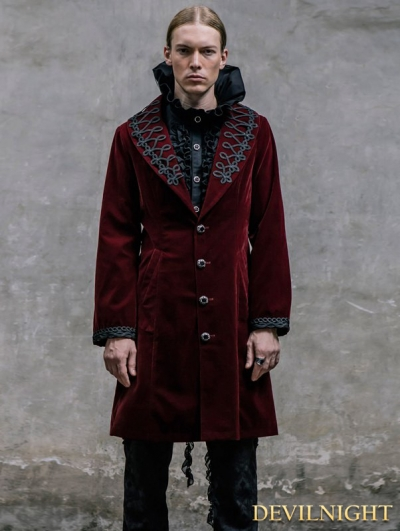 Wine Red Vintage Gothic Jacket for Men