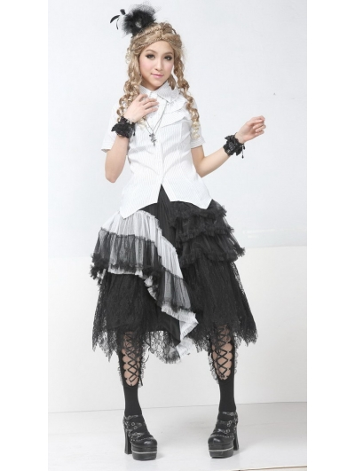 Black and White Romantic Gothic Skirt