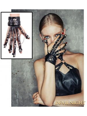 Black Gothic Punk Skeleton Wrist Strap