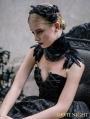 Black Gothic Feather Collar Shawl