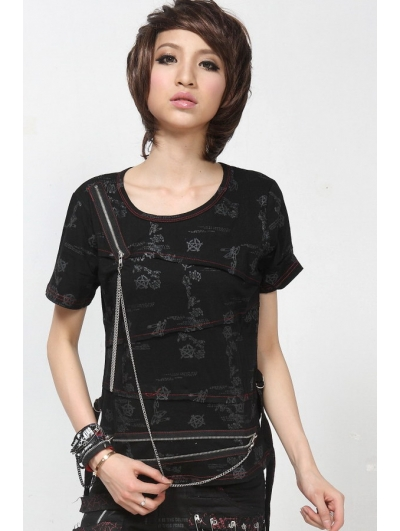 Black Short Sleeves Chain Punk T-Shirt for Women