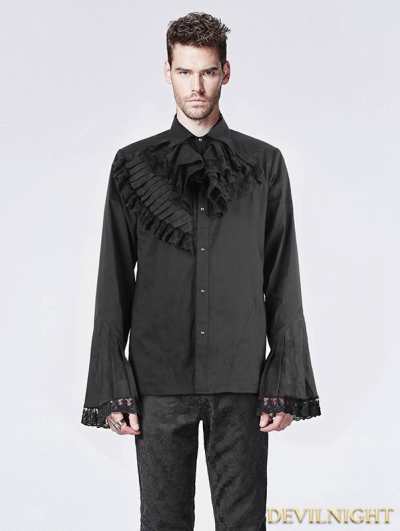 Black Trumpet Sleeves Gothic Blouse for Men