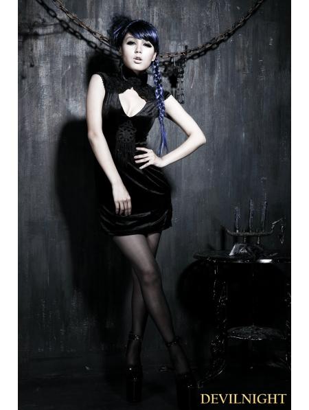 Black Gothic Sexy Chinese Style Dress Devilnight Co Uk