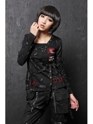 Black Long Sleeve Punk T-Shirt for Women