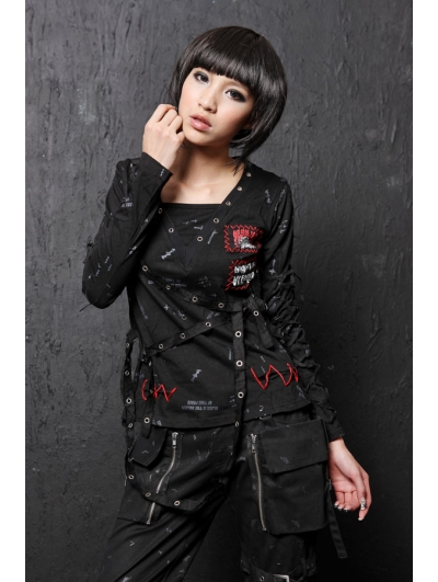 Black Long Sleeve Punk T-Shirt for Women