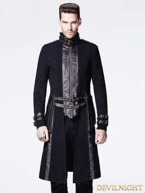Black Gothic Punk Style Long Coat for Men