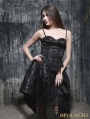 Spaghetti Strap Black Pattern Gothic Party Dress with Irregular Skirt
