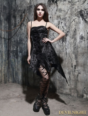 Fashion Black Pattern Gothic Dress with Irregular Skirt