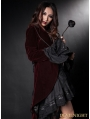 Wine Red Velvet Gothic Swallow-Tailed Coat for Women