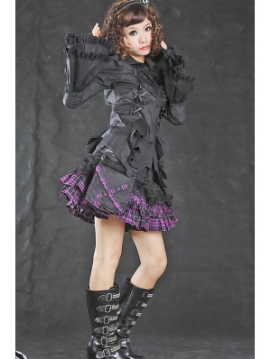 Black Tuxedo Style Gothic Blouse for Women