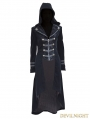Black Velvet Gothic Hooded Long Coat for Women