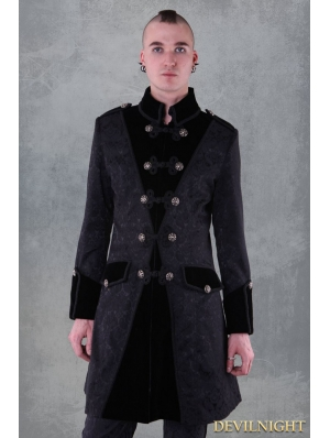Black Pattern Winter Gothic Coat for Men