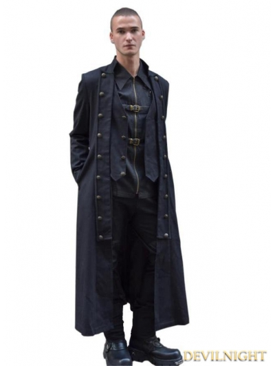 Black Double-Breasted Long Gothic Coat for Men
