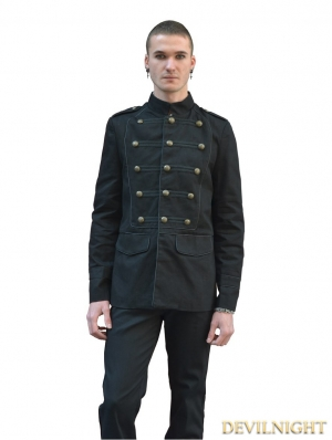 Black Gothic Military Style Jacket for Men