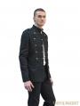 Black Gothic Military Style Jacket for Men