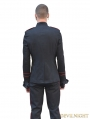 Black and Red Gothic Military Style Jacket for Men