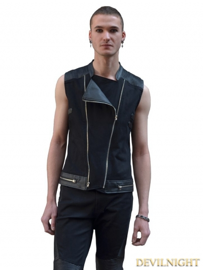 Black Gothic Punk Sleeveless Shirt for Men