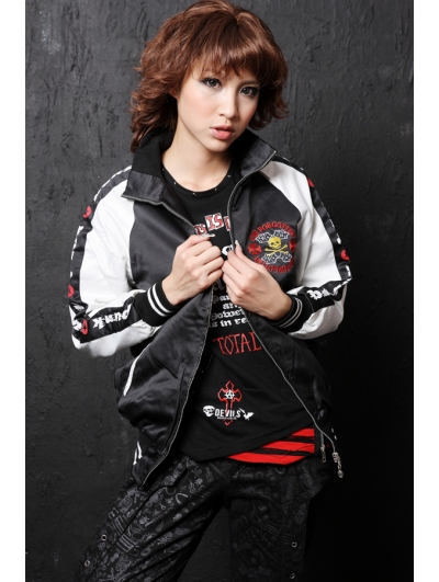 Black Crossbones Pattern Punk Jacket for Women