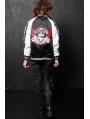 Black Crossbones Pattern Punk Jacket for Women