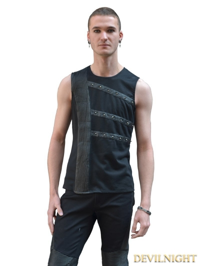 Black Sleeveless Gothic Shirt for Men