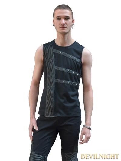 Black Sleeveless Gothic Shirt for Men