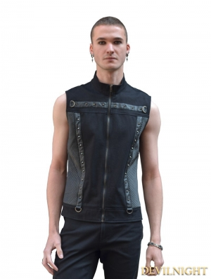 Black Sleeveless Gothic Punk Shirt for Men