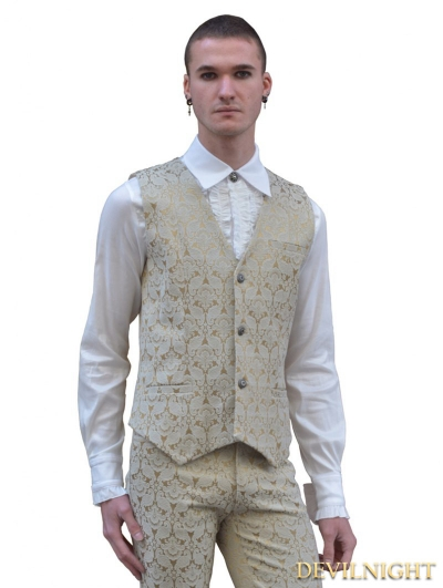 Yellow Pattern Mens Gothic Vest