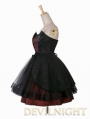 Red and Black Gothic Pattern Party Dress