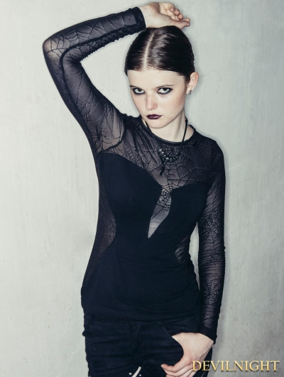 Black Spider Web Gothic Long Sleeves Shirt for Women