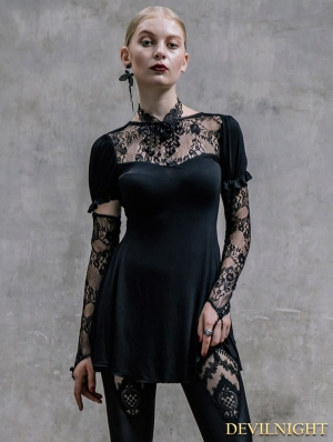Black Long Sleeves Lace Gothic Shirt for Women