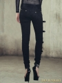Black Denim Gothic Punk Pants for Women