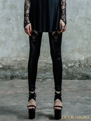 Black Gothic Lace Pattern Legging for Women