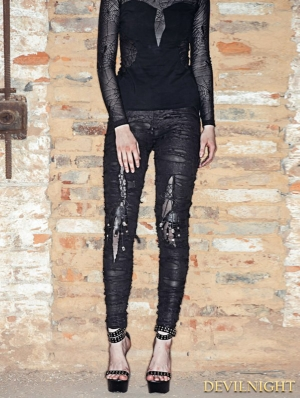 Black Knitting Hole Gothic Punk Legging for Women