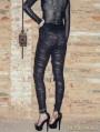 Black Knitting Hole Gothic Punk Legging for Women