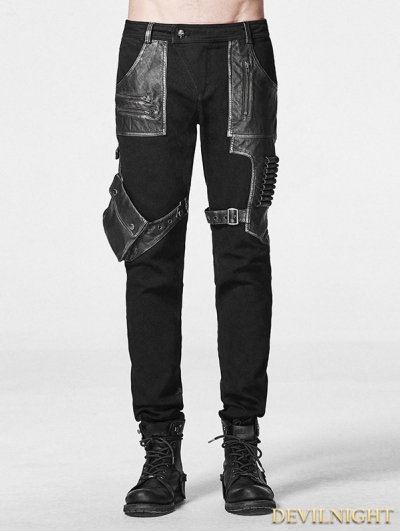 Black Gothic Rock Steampunk Pants for Men