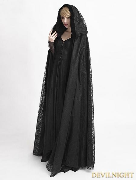 black gothic long hooded cape for women devilnightcouk