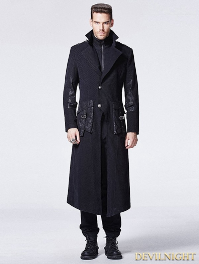 Black Gothic Punk Fake Two-Piece Long Coat for Men