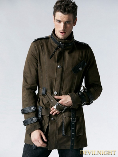 Coffee Gothic Retro Army Style Coat for Men