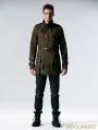 Coffee Gothic Retro Army Style Coat for Men