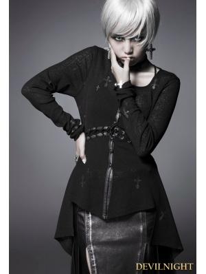 Black Gothic Cross Long Sleeves Shirt for Women